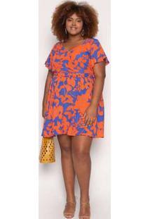 Vestido Almaria Plus Size Kayla Tondela Estampado Laranja/Azul