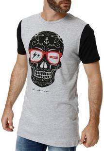 Camiseta Manga Curta Masculina No Stress Cinza Claro
