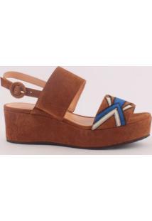 Sandália Plataforma Em Couro- Marrom & Azul- Salto: Luiza Barcelos
