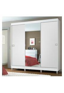 Guarda-Roupa Casal Madesa Veneza 3 Portas De Correr Central Com Espelho Com Pés Branco