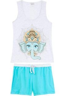 Shortdoll Lua Encantada Algodão Elefante Mandala
