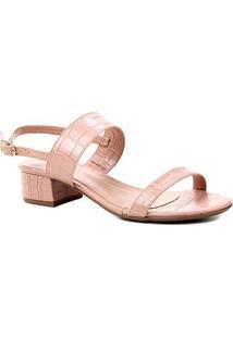 Sandália Shoestock Salto Baixo Bloco Croco Feminina - Feminino