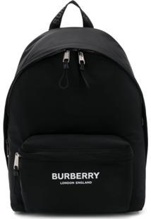 Burberry Mochila Com Estampa De Logo - Preto