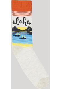 Meia Masculina Cano Alto Com Estampa Aloha Bege