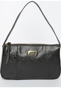 Bolsa Em Couro Texturizado Geomã©Trico Com Recortes- Pretdi Marlys
