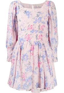 Loveshackfancy Vestido Acinturado Com Estampa Floral - Rosa