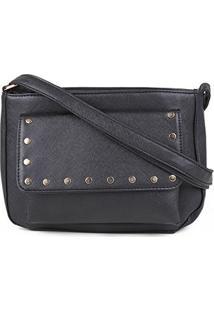 Bolsa Pagani Mini Bag Transversal Com Aplicação Feminina - Feminino-Preto