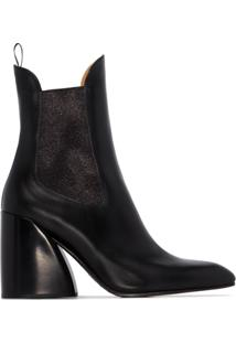 Chloé Ankle Boot Wave Com Salto 90Mm - Preto