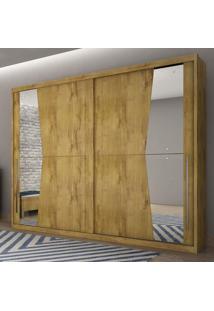 Guarda Roupa Casal 2 Portas Com Espelho Geom Móveis Novo Horizonte Freijó Dourado