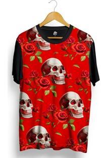 Camiseta Bsc Smiling Skull Red Rose Full Print - Masculino