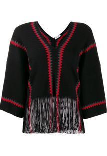 Sonia Rykiel Two Tone Knitted Jumper - Preto