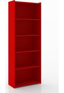 Estante Para Livros 4 Prateleiras Esm201 Retrô Movelbento Vermelho