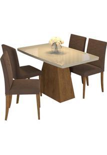 Sala De Jantar Helen 130 Cm Com 4 Cadeiras Savana/Off White Chocolate