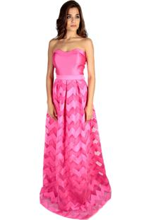 Vestido Izad Saia Godê Em Tule Com Faixas Em Zibeline Rosa