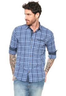 Camisa Triton Xadrez Azul