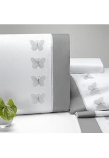 Jogo Lençol Queen Casaborda Papillons Percal 200 Fios 4 Pçs Branco