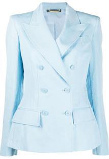 Alberta Ferretti Blazer Slim Com Abotoamento Duplo - Azul
