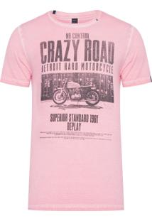 Camiseta Masculina Crazy Road - Rosa