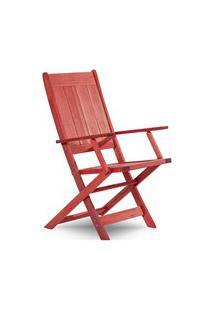 Cadeira Dobrável Com Braços Acqualung Stain Vermelho - Mão & Formão