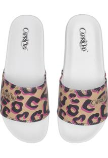 Chinelo Slide Capricho Color Animal Print Branco/Bege