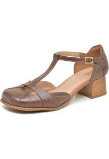 Sapato Retrô Bico Quadrado Touro Boots Feminino Marrom - Kanui