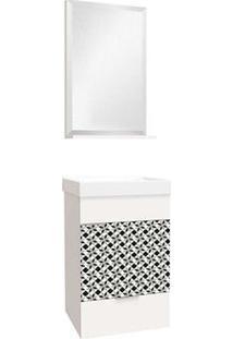 Gabinete Para Banheiro Club 40Cm Com Gaveta, Lavatório E Espelheira Mosaico Bumi