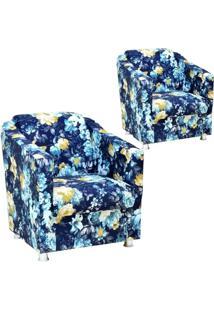 Kit 02 Poltronas Decorativas Laura Azul Estampado - Lyam Decor
