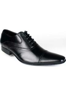 Sapato Bigioni Oxford Social Masculino Cadarço Sola Couro - Masculino-Preto
