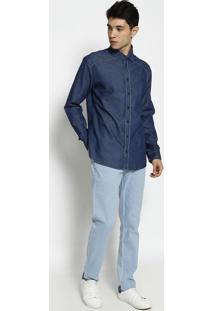 Camisa Jeans Slim Fit Com Recortes- Azul- Forumforum