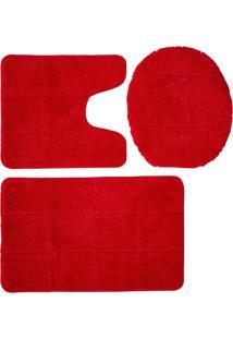 Tapete Kit Jolitex Caricia Quadriculado Vermelho