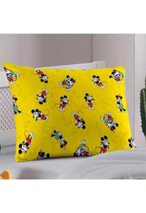 Fronha Avulsa Portallar Malha Estampada Disney Mickey 90 Anos Amarela