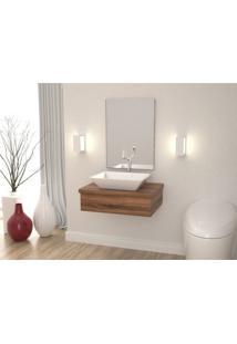 Conjunto Bancada Para Banheiro Com Cuba Aria Rt41 E Espelheira 601W Metrópole Compace Nogal