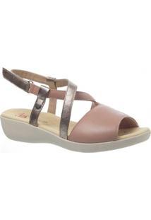 Sandália Joanete Em Couro Techprene Capuccino Doctor Shoes - Feminino-Rosa Claro