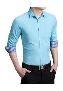Camisa Masculina Slim Manga Longa - Azul Turquesa