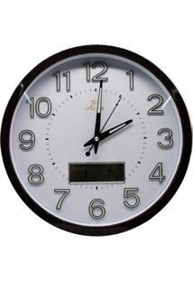 Relógio De Parede Digital E Analógico 34Cm Makeda