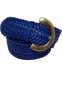 Cinto Teodora'S Couro Trançado Azul Azul Petróleo