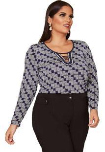 Blusa Almaria Plus Size Pianeta Estampada Azul