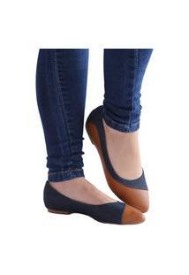 Sapatilha Feminina Jeans Com Caramelo Bico Fino Azul