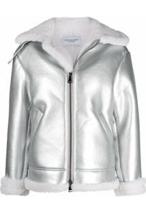 Forte Dei Marmi Couture Faux-Shearling Aviator Jacket - Prateado