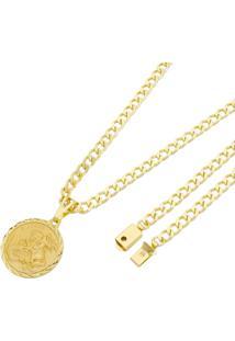 Pingente São Jorge Com Corrente Grumet Tudo Joias Fecho Gaveta Folheado A Ouro 18K Dourada