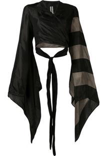Rick Owens Cropped Wrap Jacket - Preto