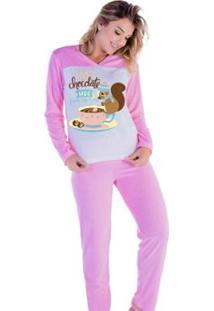 Pijama Victory Inverno Frio Longo Plush Feminino - Feminino-Rosa