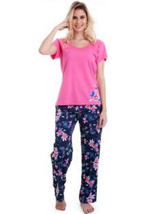 Pijama Longo Manga Curta Luna Cuore Feminino - Feminino