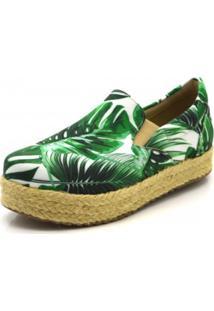 Tênis Flor Da Pele Flat Form Tropical Verde