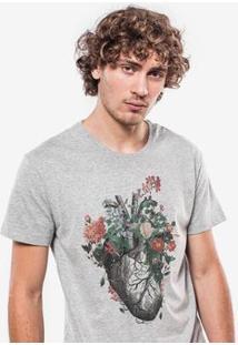 Camiseta Hermoso Compadre Flowerish Heart - Masculino-Cinza