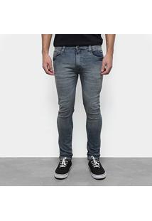 Calça Jeans Slim Fatal Confort Estonada Masculina - Masculino-Azul+Preto