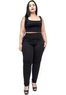 Calça Jeans Cambos Plus Size Skinny Letice Feminina - Feminino-Preto