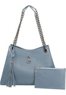 Bolsa Selten Tote Shopper Alça Fixa Bolso Interno Casual Feminina - Feminino-Azul Claro