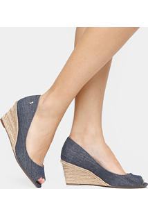 Peep Toe Santa Lolla Anabela Jeans - Feminino-Jeans