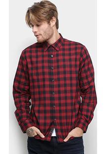 Camisa Ellus Plot Wool Xadrez Manga Longa Masculina - Masculino-Vermelho